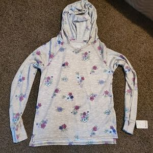 NWT! Girls Mudd brand gray floral top size L!